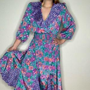 Vintage 80s Susan Freis Puff Sleeve Top Skirt Set